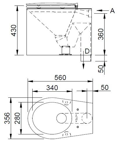 Schema - AUZ 02 Edelstahl-Toilette für die Installation auf dem Boden