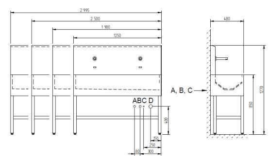Schema - AUL 03 Automatische Edelstahl-Waschrinne