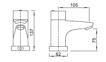 Schema - AUM 1-II Waschtischbatterie mit Temperaturregelung