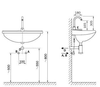 Schema - AUM 12 automatische Waschtischbatterie