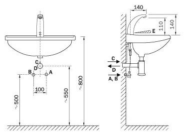 Schema - AUM 3 automatische Waschtischbatterie