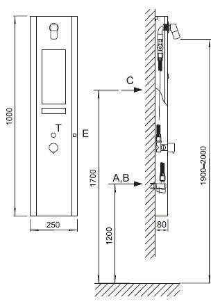 Schema - AUS 3, AUS 3P automatische Duscharmatur für Aufputzmontage mit Thermostatventil und Sensor / Piezotaste