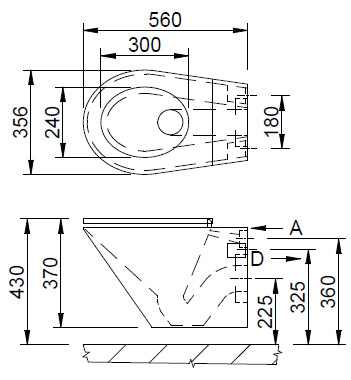 auz 01 edelstahl toilette f r wandmontage azp. Black Bedroom Furniture Sets. Home Design Ideas